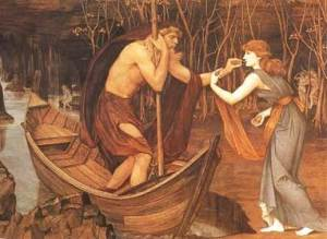 Psyche paying the boatman Charon to take her to the Underworld.
