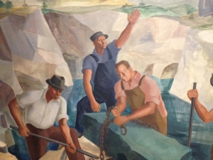 A detail from Men Working in Slate Quarry, oil on canvas, Martha Levy, 1939, Works Progress Administration/Federal Art Project, Slate Valley Museum Collection.