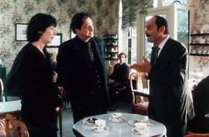 Co-writer Jean-Pierre Bacri (right) kills it as the nouveau riche just starting to develop a sense of taste.