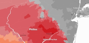 A detail of the New York Times/Facebook baseball map.